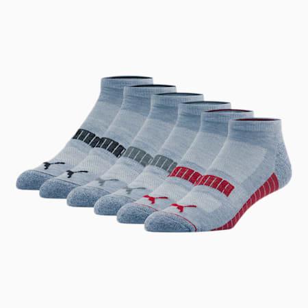 Wordmark 1/2 Terry Men's Low Cut Socks [6 Pack], GREY / MULTI, small